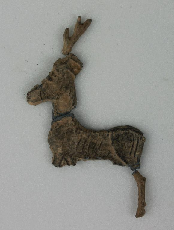 Fragments of a deer figurine card
