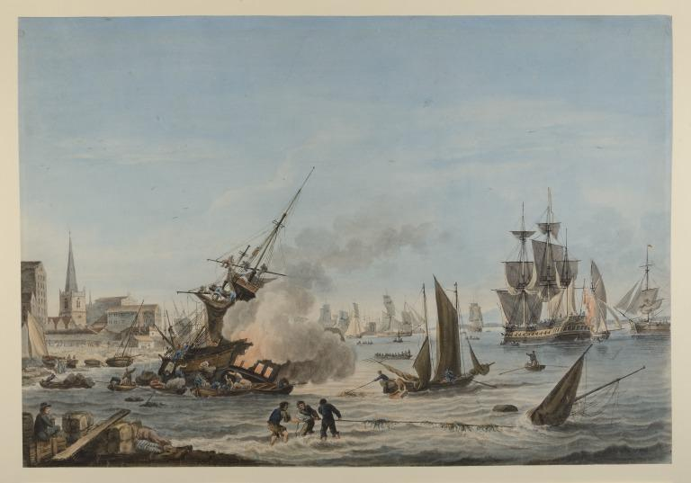 View of Liverpool from the Fort with a Ship on Fire card