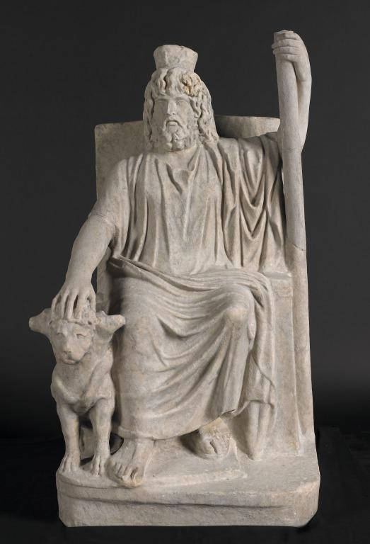 Statue of Serapis with Cerberus card