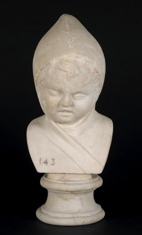 Bust of a Young Boy wearing a Cowl card