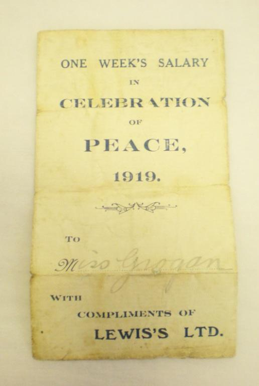 One week's salary in celebration of Peace 1919 to Miss Grogan with compliments of Lewis's Ltd card