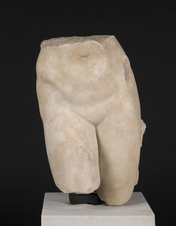 Lower part of female naked statuette card