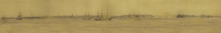 Panoramic photograph of the Liverpool Waterfront, c1860. card