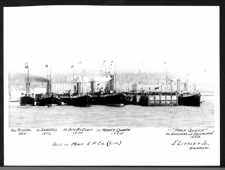Photograph of Manx Queen, Peveril, Snaefell, Ben-my-chree, Mona's Queen., Isle of Man Steam Packet Company card