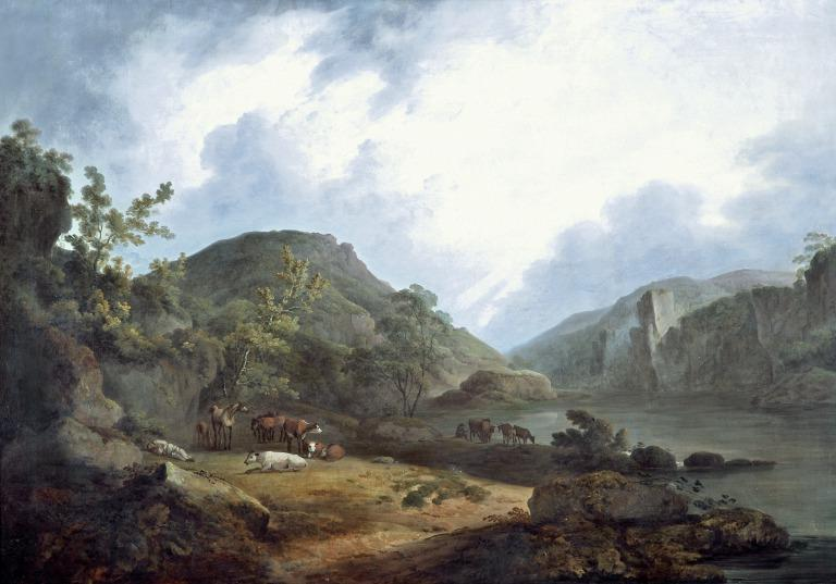 Mountain Landscape with Cattle and Resting Herdsman card