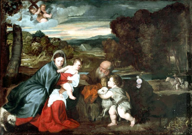Holy Family with Infant St. John the Baptist in a landscape card