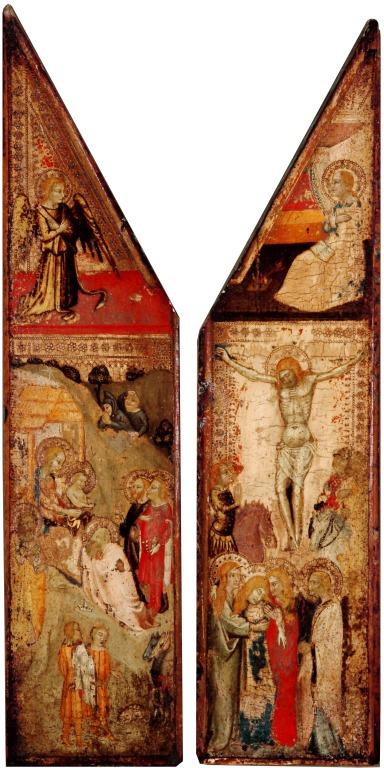 Two Wings of a Triptych. Crucifixion right; Adoration of the Magi and the Shepherds left. Above the Annunciation, Mary right, Gabriel left. card