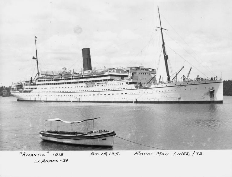 Photograph of Atlantis (ex Andes), Royal Mail Steam Packet Company card